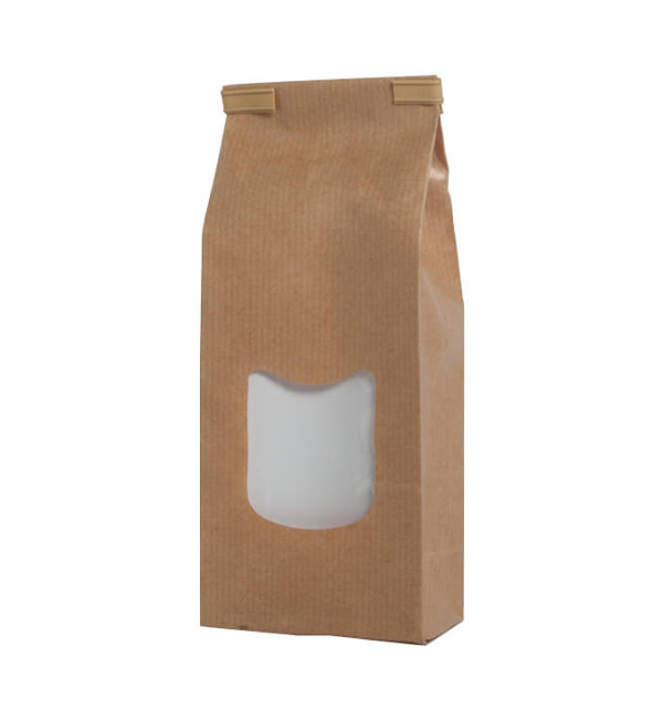 Brown paper bags with window packaging baginco for Kraft zakjes met venster