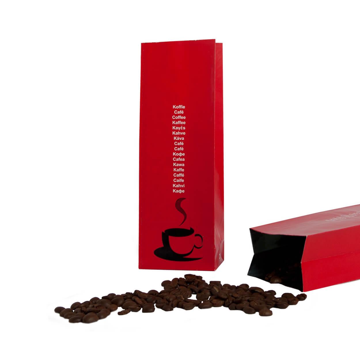 Rode koffiezakjes papieren zakjes baginco for Papieren vensterzakjes